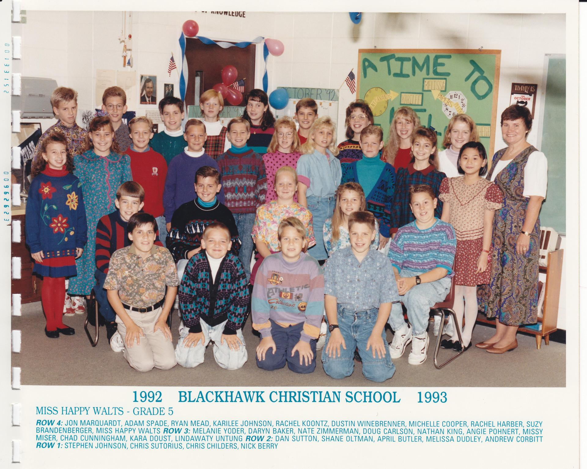 1992 Miss Toffolo's Class