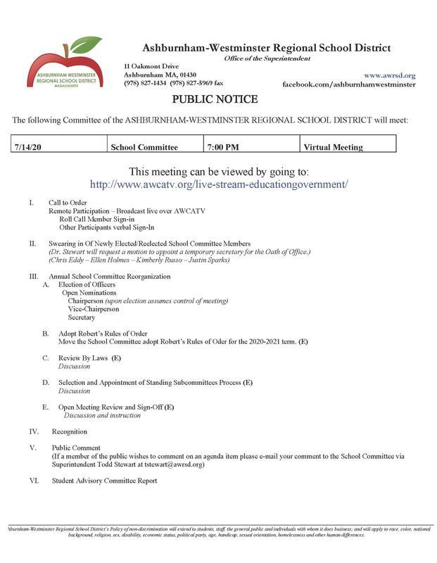 7/14/2020 School Committee Agenda