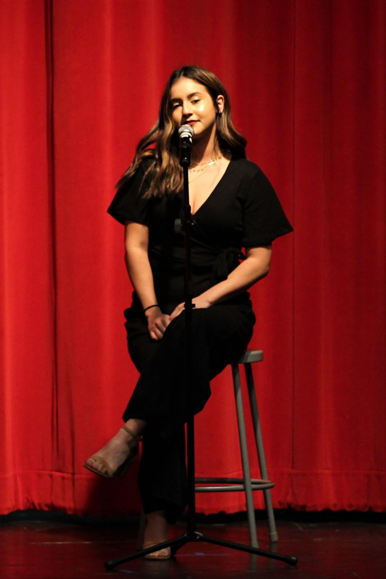 Milli Montez singing at the Talent Show