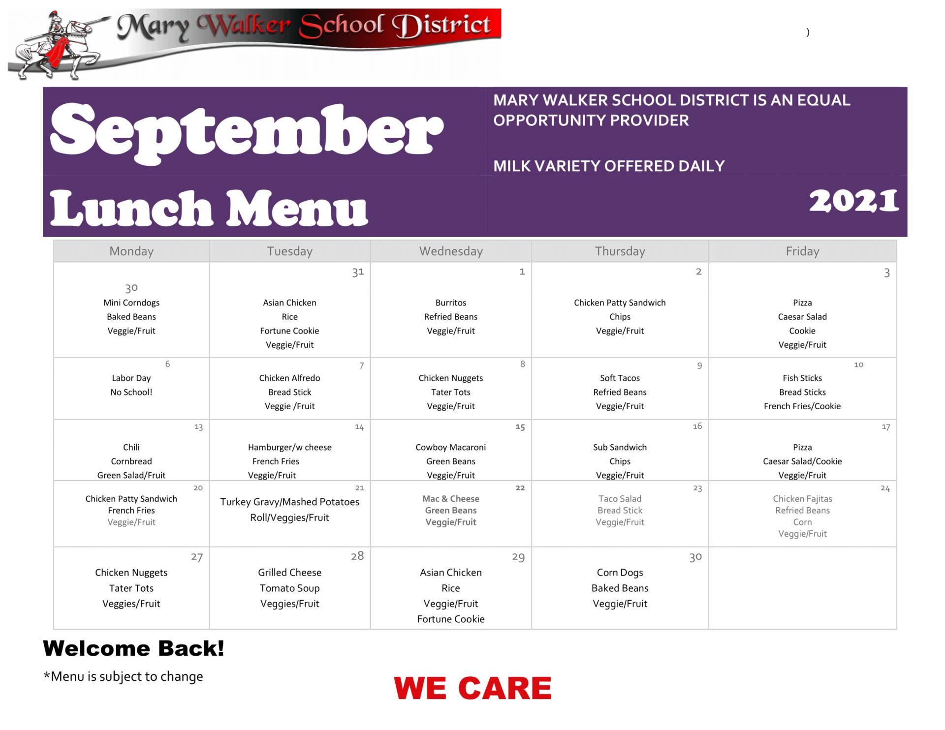 Image of September 2021 Lunch Menu