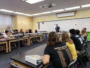 Former Stockdale student Eric Heisler guest lectures in physics classes with air launcher he built at UCSB