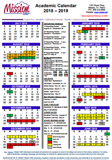 Academic Calendar 2018-2019 Featured Photo