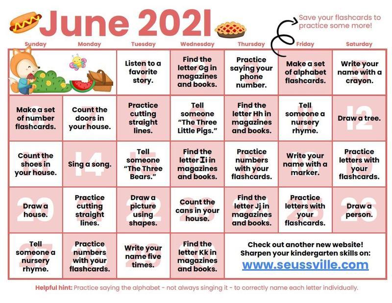 June Kindergarten Readiness Calendar Featured Photo
