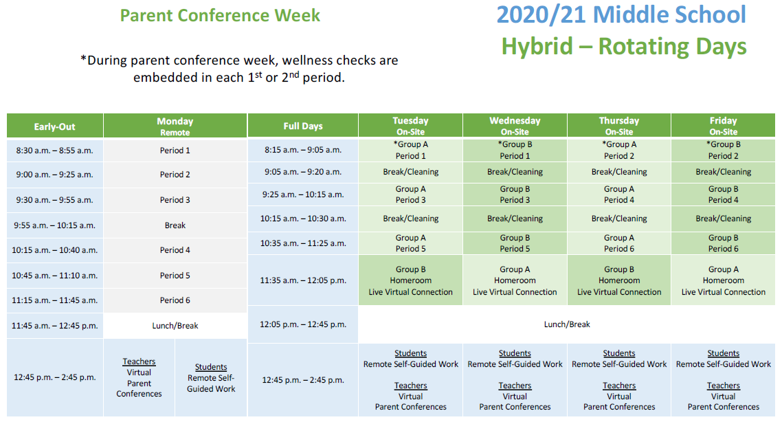 Table with Middle School Hybrid Parent Conference Week Schedule
