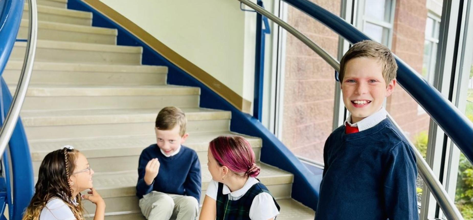 legacy prep best charter school in davis county, students on staircase
