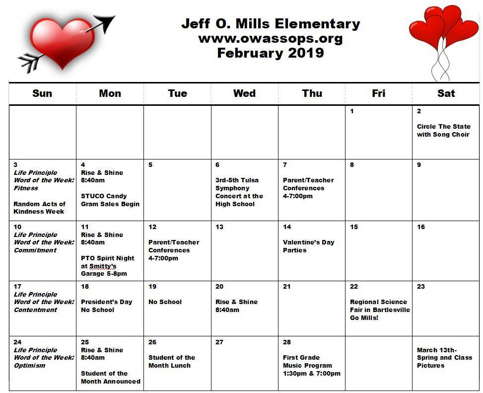 February Mills Calendar