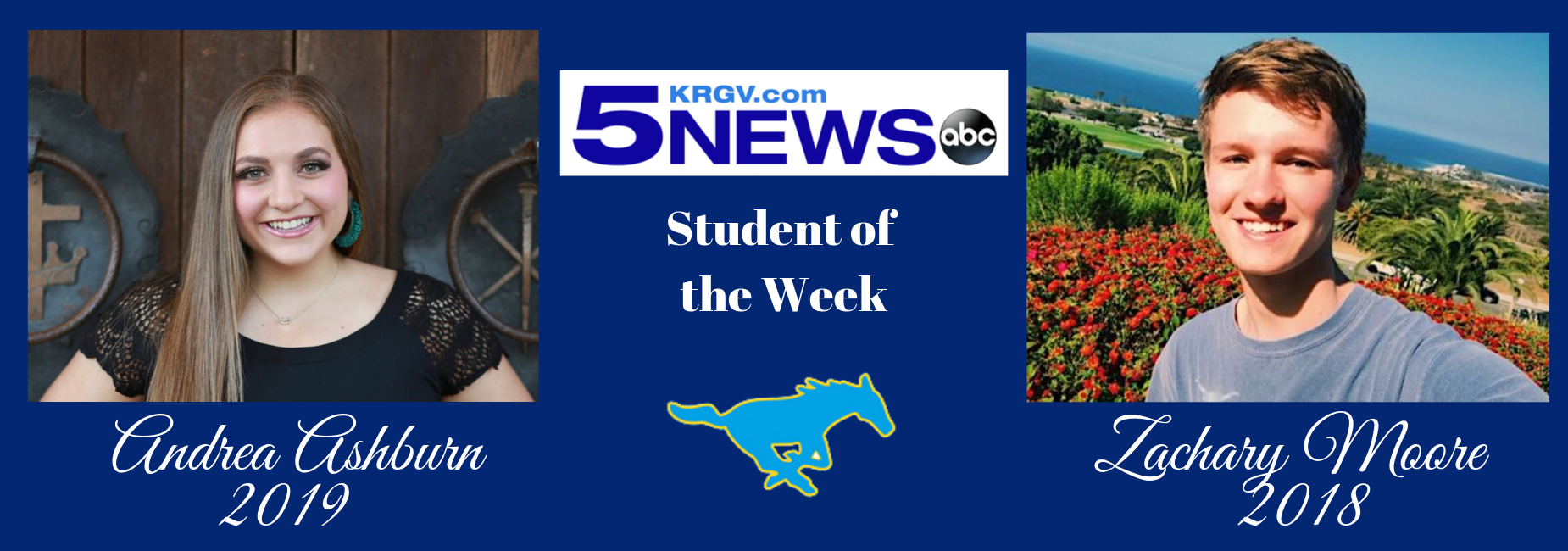 KRGV students of the week posing for camera