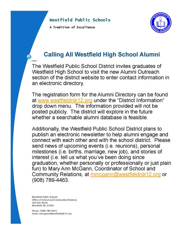Photo image of a flyer asking Westfield High School alumni to visit the Alumni Outreach section of the district website to enter contact information and share news of interest for a new electronic newsletter to be published.