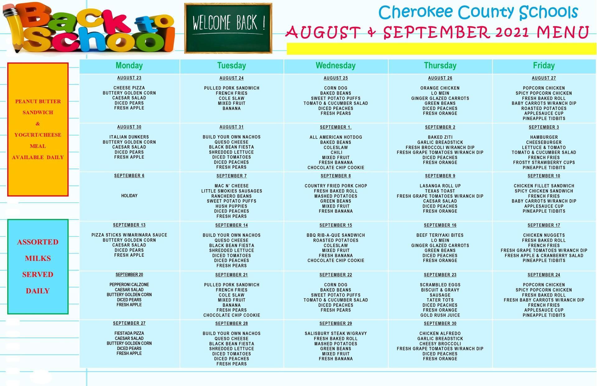 August & September Lunch Menu