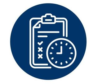 Navy blue circle with a white outline of a test and clock