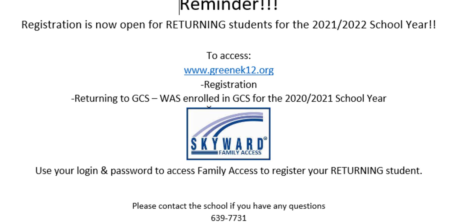 School Registration 2021-2022