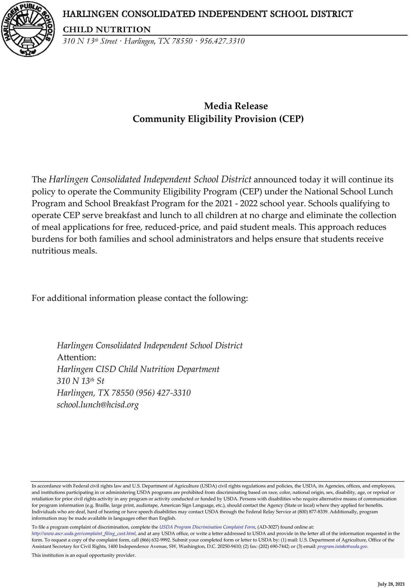 CEP Media Release