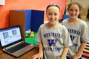 Campers learn how to score a film clip, composing their own music and sound effects during STEM Camp at Westfield Public Schools.