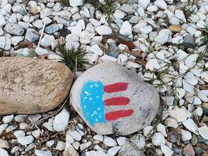 student painted flag rock