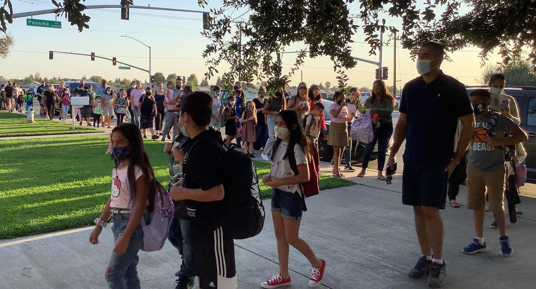 Students and Parents Lined Up for School