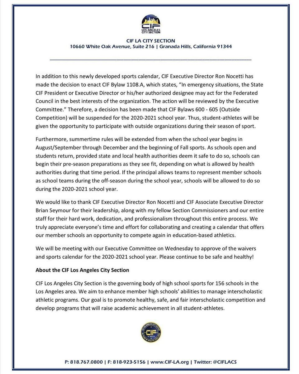 CIF letter regarding 2020-21 high school sports pg2