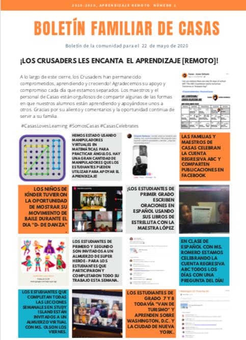 Casas Family Bulletin Screenshot in Spanish