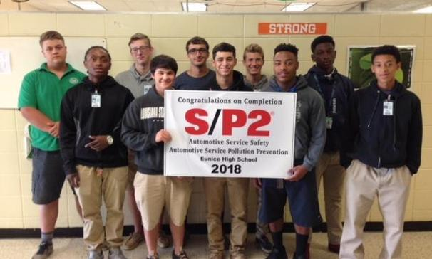 Eunice High School students completed and received certificates for Automotive Service Safety and Pollution Prevention S/P2.