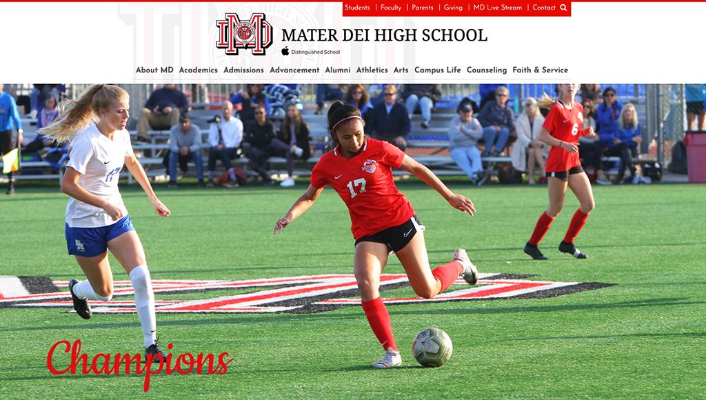 website for Mater Dei High School