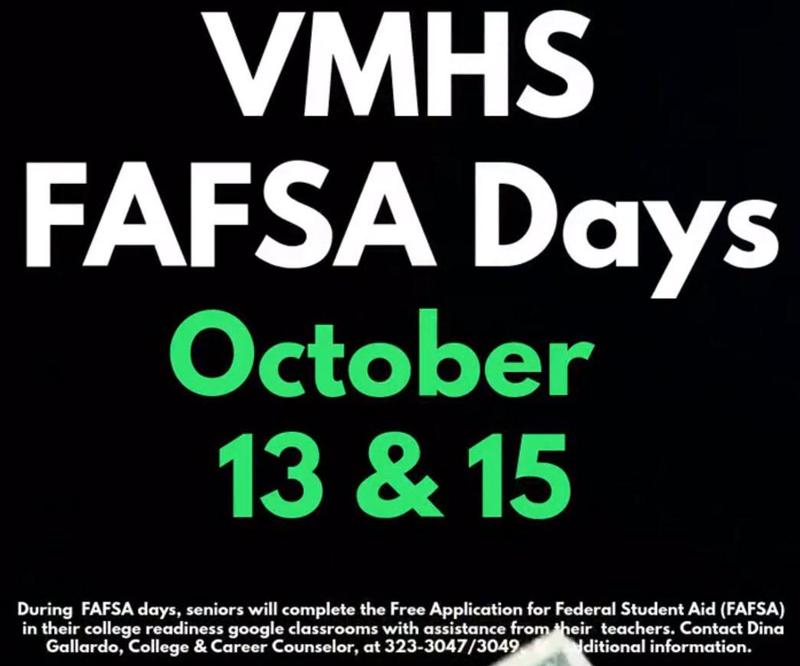 VMHS FAFSA Days 2020!  October 13 & 15 Featured Photo