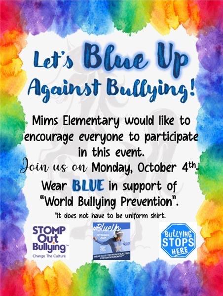 bullying flyer, Let's Blue up against bullying