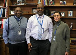 Andre Taylor, a representative from the state office that handles the SEL initiative, heard from K-12 English Language Arts supervisor Dr. Tiffany Jacobson about how the New Jersey SEL competencies -- self-awareness, self-management, social awareness, responsible decision-making, and relationship skills -- are woven into district curriculum.   Taylor is pictured here with Jacobson and WHS principal Derrick Nelson.