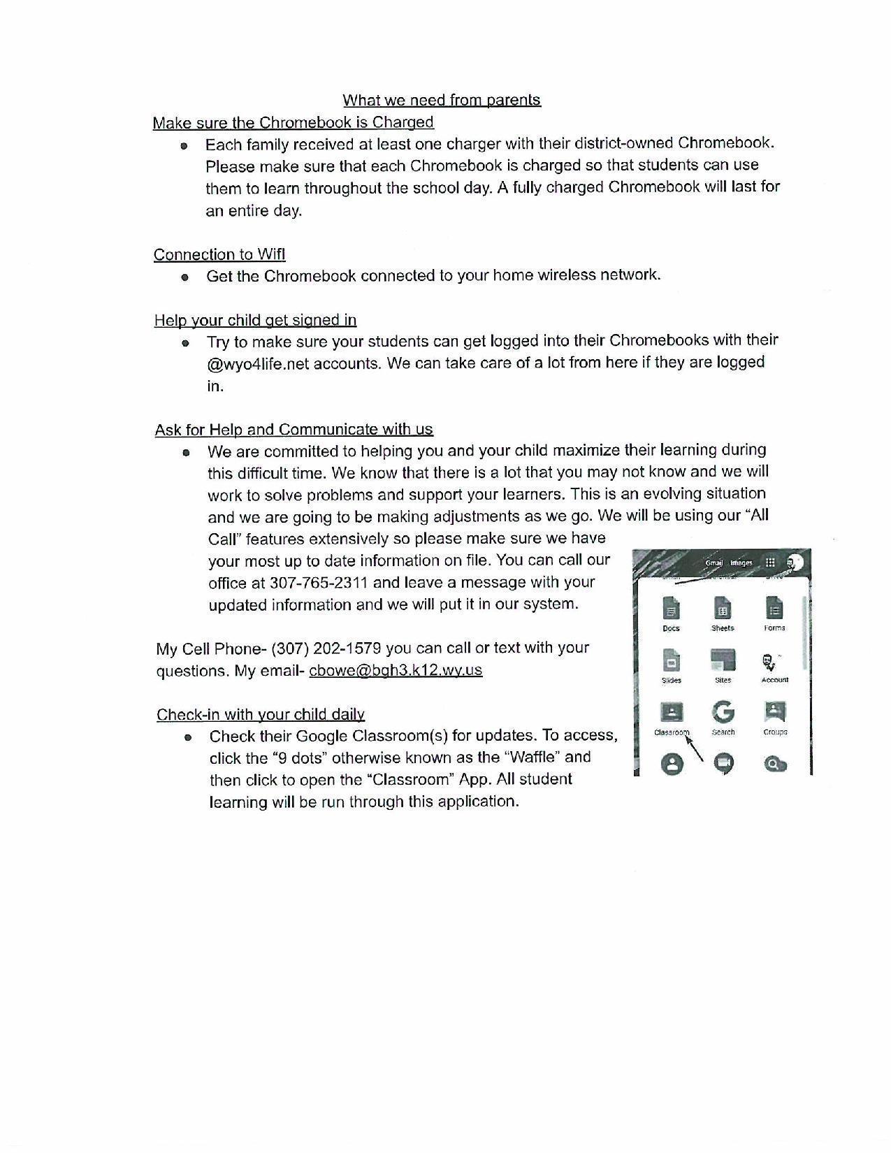 English Parent Letter 2