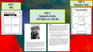 3 step learning process on Rosa Parks