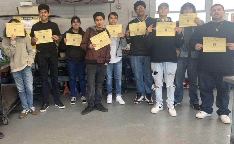 At Pomona HS -students in CTE classes, manufacturing and Automotive completed  & received OSHA certifications White heavy check markHundred points symbol Students now have the knowledge of safety Labor ,responsibility of ensuring safety at work. SparklesHigh Quality CTE in career readiness. #Proud2bepusd
