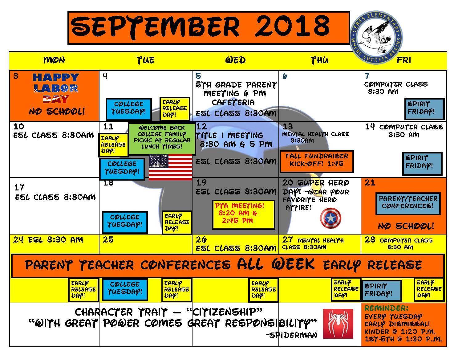 2018 Calendar-September