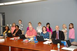TES students with BOE members