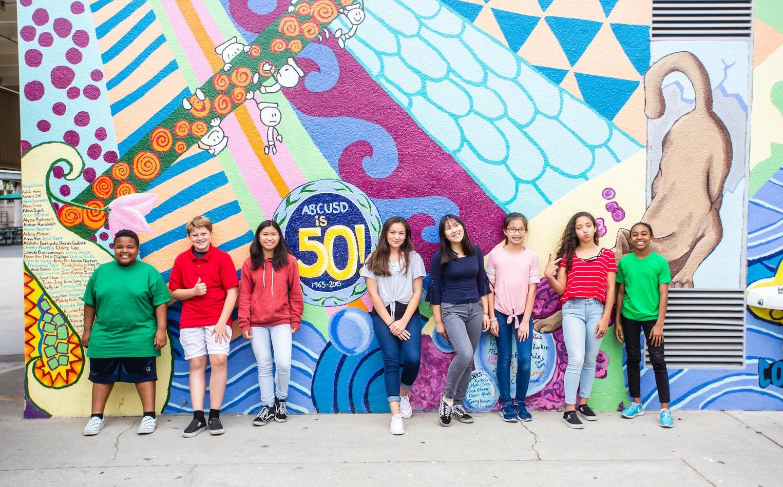 Students standing against colorful mural.
