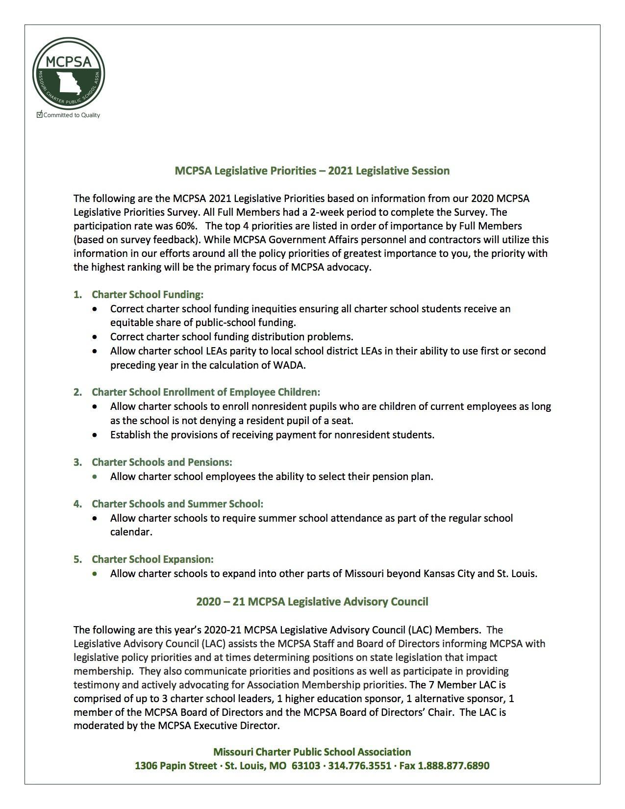 2021 Legislative Priorities 1-Pager