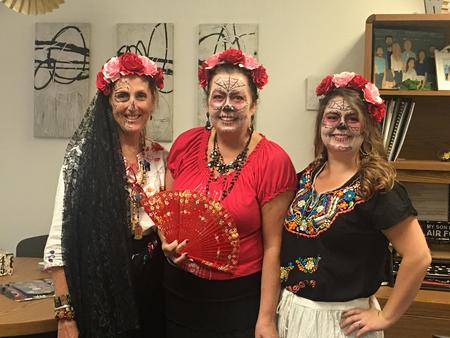 Mrs. Robilotta, Mrs. Lloyd and Mrs. Taylor in costume