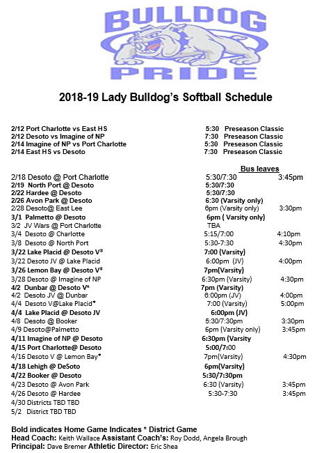 2019 DHS Softball Schedule