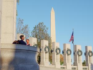 students at the WWII memorial in Washington DC