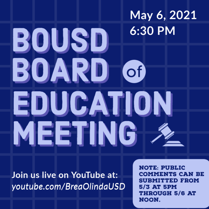 Next Board of Education Regular Meeting: May 6, 2021 at 6:30pm