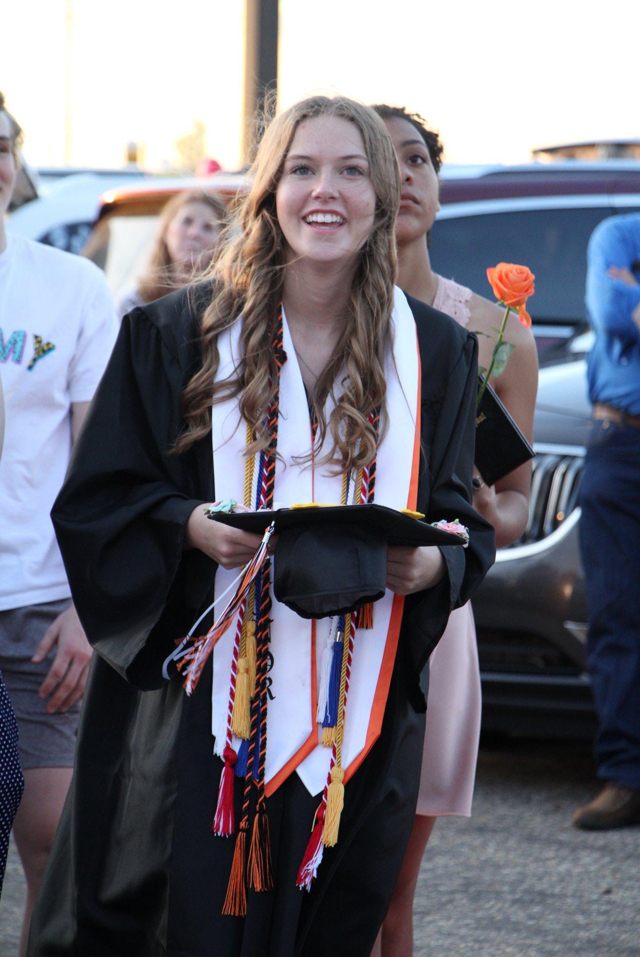 Girl at high school graduation
