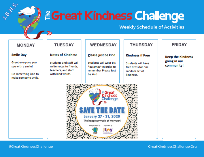 The Great Kindness Challenge Week Schedule