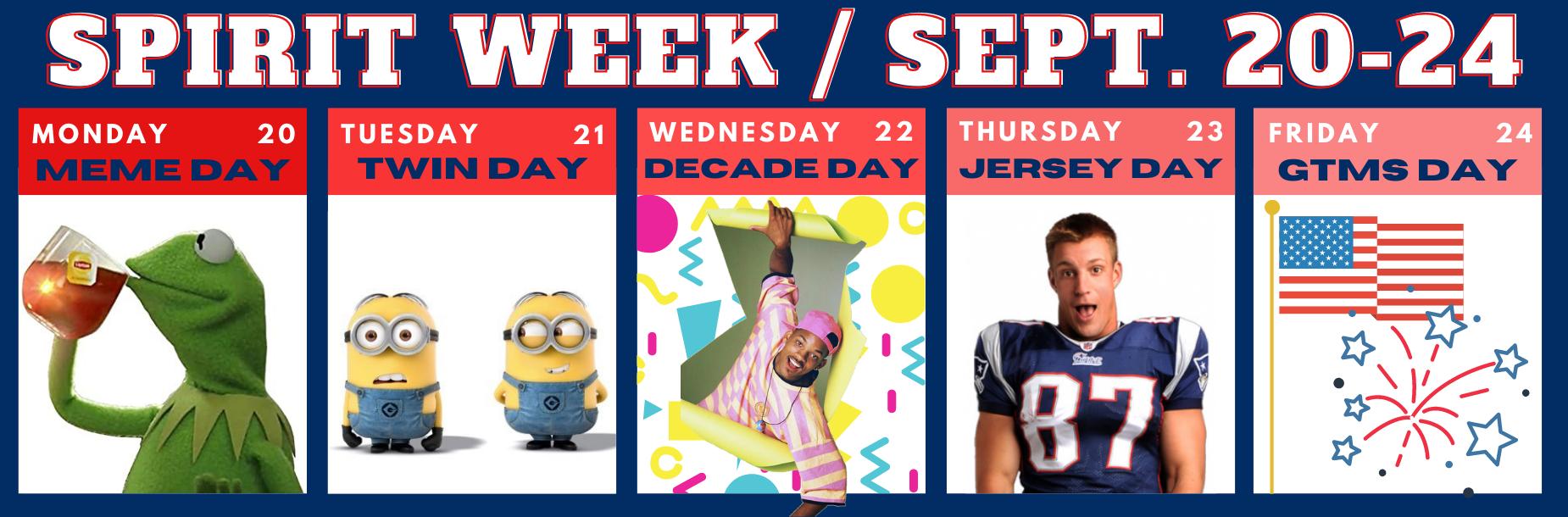 Spirit Week Sep 20-24