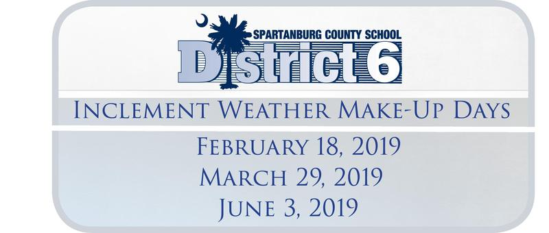 Inclement Weather Make-Up Days Feb 18, March 29 and June 3