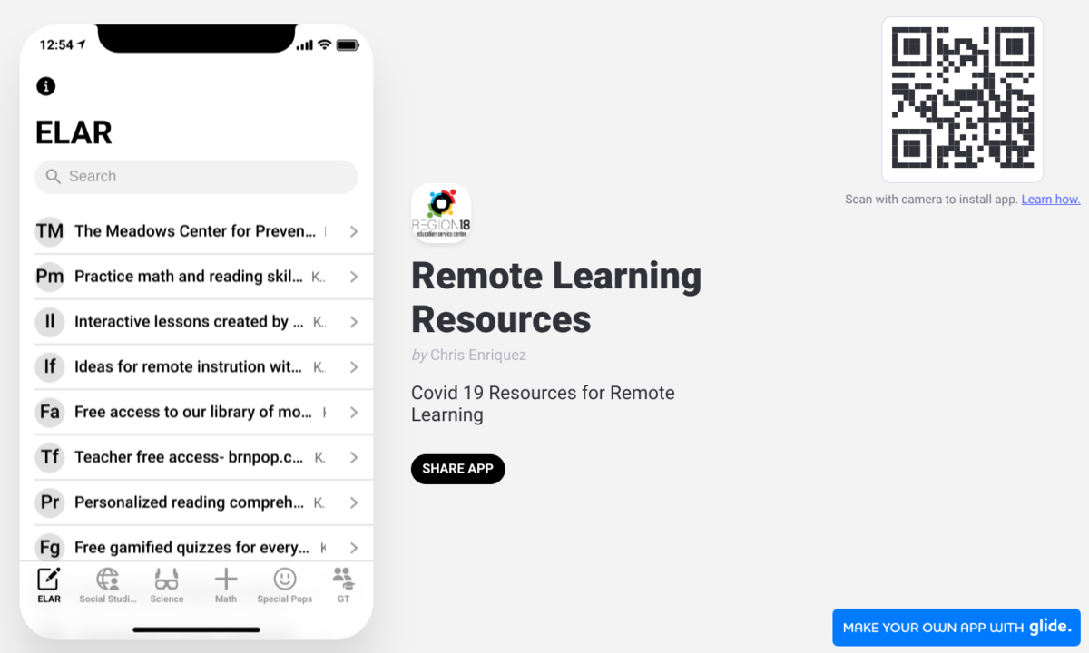 ESC 18 Remote Learning Resources App