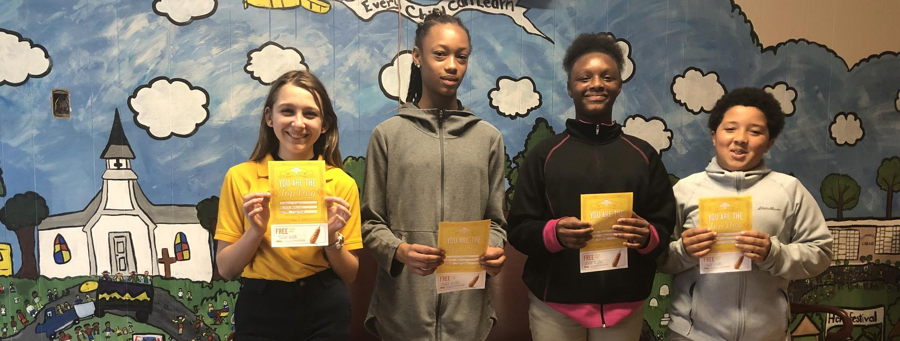 Sunset Middle School weekly PBIS drawing winners.