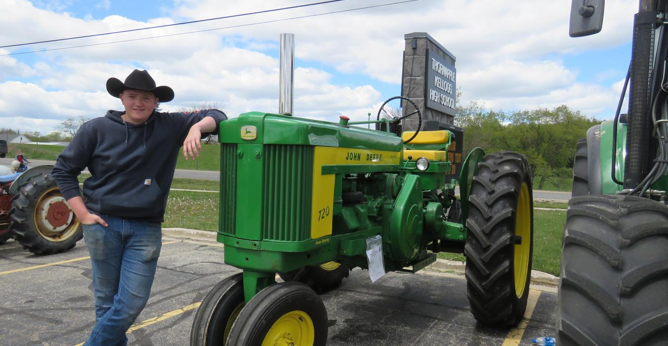 The annual tradition of driving tractors to school for farmer day continues.