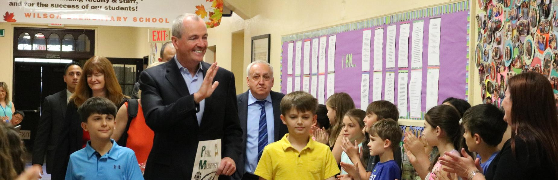 New Jersey Governor Phil Murphy took a few moments out of a busy schedule to drop in on a 5th grade class at Wilson School in Westfield on Thursday, May 24.