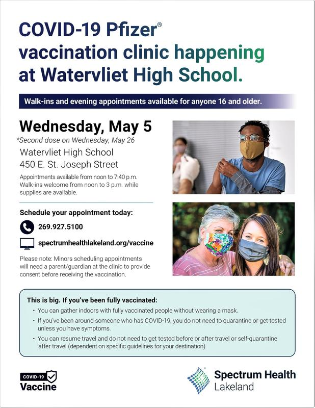 Flier for May 5 covid-19 vaccination clinic at Watervliet High School