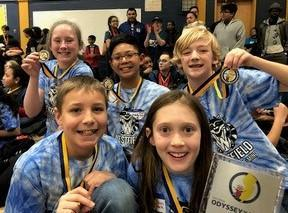 Photo of A team of elementary students from McKinley and Wilson Schools are among three Westfield teams to place 1st in a regional Odyssey of the Mind Tournament on March 10, advancing to state finals on April 6.  L-R Back Row:  Madeleine Smith, Dylan Lagrimas, Logan Welsh.  L-R Front Row:  Christian Buonopane, Emma Crall. Not pictured:  Amelia Ing.