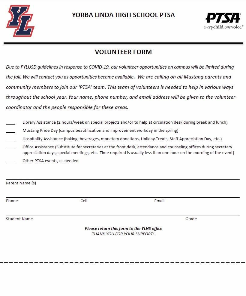 Volunteer Form 2020