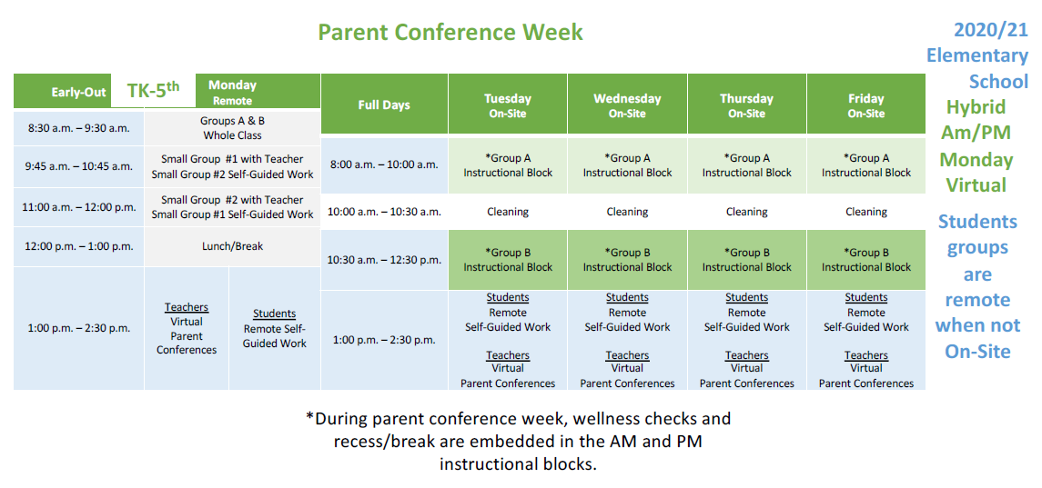 Table with Elementary Hybrid Parent Conference Week Schedule