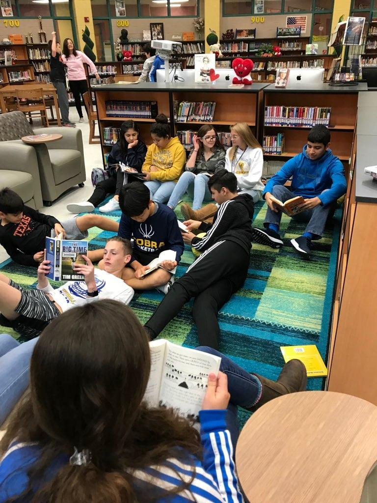 students enjoying the library